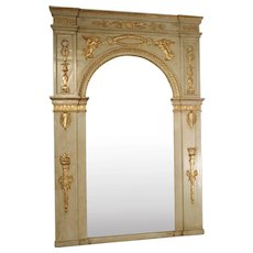 19th Century French Empire Style Trumeau Mirror in Gris Trianon