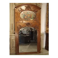 19th Century French Oak Trumeau Mirror