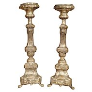 Pair of Early 19th Century Silvered Candlesticks from France
