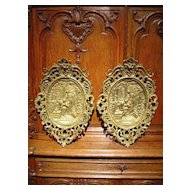 Pair of Antique Rococo Style Bronze Plaques from France