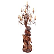 19th Century Carved Wooden Italian Blackamoor Lamp/Torchere
