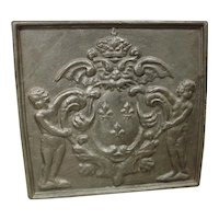 Antique Cast Iron Fireback, France 1800s