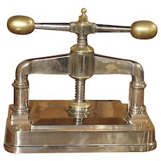 A Large Chromed Antique Bank or Library Book Press from France, 19th Century