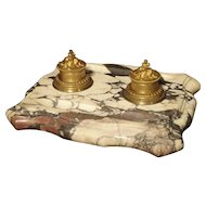 Large Antique French Marble and Bronze Inkwell, Circa 1880