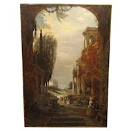 Antique French Oil Painting of 19th Century Life Amongst Roman Ruins
