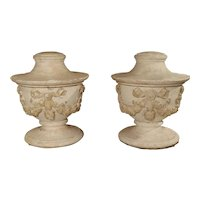 Pair of Large and Unusual 3-Piece Antique Plaster Vases from France, Circa 1860