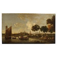 Antique Dutch River Scene Painting, Oil on Canvas Circa 1800