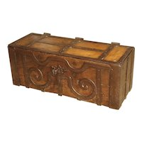 17th Century Oak and Iron Bound Money Trunk from Haut Jura, France
