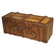 17th Century Oak and Iron Bound Money Trunk from Haut Jura, France