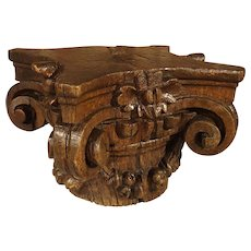 Small 18th Century French Oak Column Capital