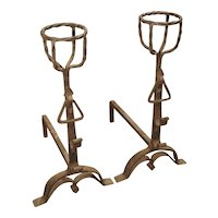 A Pair of Forged French Andirons from the 19th Century