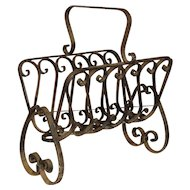 French Wrought Iron Document or Firewood Holder