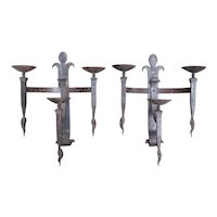 Pair of Early 1900's Forged Iron Fleur De Lys Sconces from France
