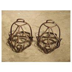 Pair of 19th Century French Steel Cage Stirrups La Gardiane