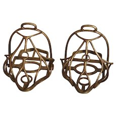 Pair of 19th Century French Steel Cage Stirrups La Gardiane