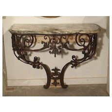 Beautiful 19th Century French Wrought Iron and Bronze Console Table with Marble Top