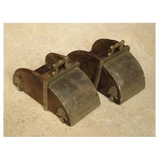 Pair of 19th Century Metal and Wood Stirrups from Portugal