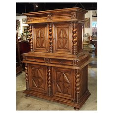 Antique Walnut Wood Buffet Deux Corps from Southwestern France, Circa 1690