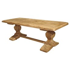 Stripped Oak Monastery Table From France, Circa 1950's