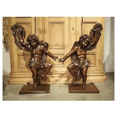 Pair of Large Antique Carved Putti Statues or Lamps From Italy, 18th Century
