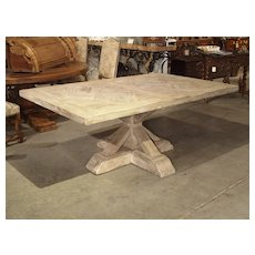 Parquet Top Pedestal Table from France in Whitewashed Oak