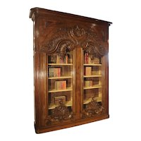 "Monumental 19th Century French Oak Bibliotheque-Vitrine ""Rocaille"""