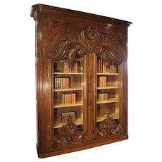 """Monumental 19th Century French Oak Bibliotheque-Vitrine """"Rocaille"""""""