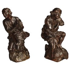 Pair of Small 18th Century Carved Oak Statues from France