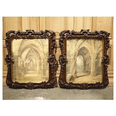 Pair of 19th Century Rosslyn Chapel Watercolors in Carved Fruitwood Frames