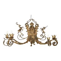 Large Polychrome Wrought Iron Stags Chandelier from France, 1900's