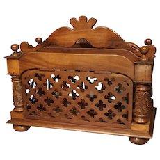 Unusual 19th Century Walnut Wood Canterbury from England