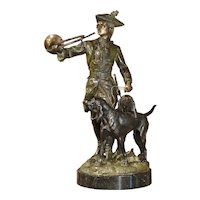 Patinated French Bronze Statue of Hunter and Hounds on Marble Pedestal