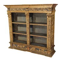 Antique Polychrome and Giltwood Florentine Low Bookcase, 19th Century