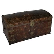 Antique Leather Bound and Studded Trunk from France, Dated 1729