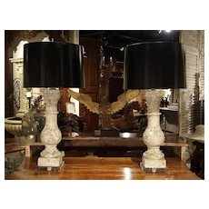 Pair of Antique French Re-Constituted Stone Baluster Lamps on Acrylic Bases
