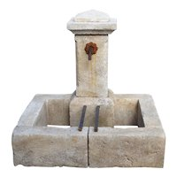 Single Pillar French Limestone Fountain from Provence