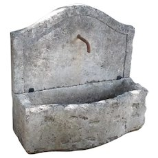 Small Carved Stone Wall Fountain from France