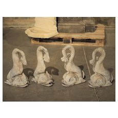 Set of Four Antique Lead French Dolphin Statues or Fountain Spouts, Circa 1910