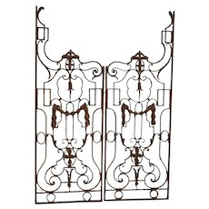 Pair of Antique Wrought Iron Garden Gates from France, Circa 1890