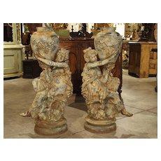 Beautiful Pair of Antique Cast Iron Figural Garden Urns