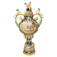 A Large Painted Italian Majolica Urn Circa 1885