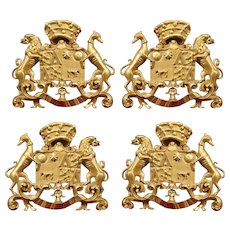 Set of Four Antique Carved Giltwood Coat of Arms Plaques from Spain, Circa 1890