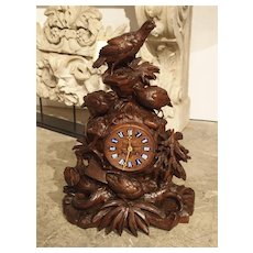 Antique Carved Black Forest Mantel Clock, Circa 1885