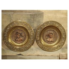 Pair of Antique Copper and Brass Repousse Platters from Spain, Circa 1900