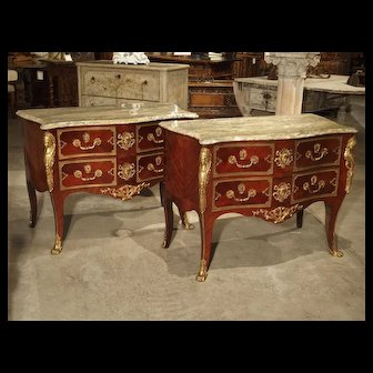Pair of Early 1900s Mahogany and Gilt Bronze Mounted Louis XV Style Commodes