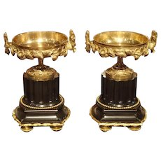 Pair of Antique Marble and Gilt Bronze Tazzas from France, Circa 1870