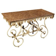 Fantastic 19th Century Iron and Bronze French Butchers Display Table with Rosso Verona Marble Top