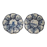 Pair of Antique Dutch Blue and White Faience Bowls, Early 19th Century