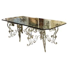 French Iron Dining Table with Glass Top