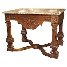 Antique French Louis XIV Style Gibier Table in Carved Oak, C. 1870 (with earlier elements)